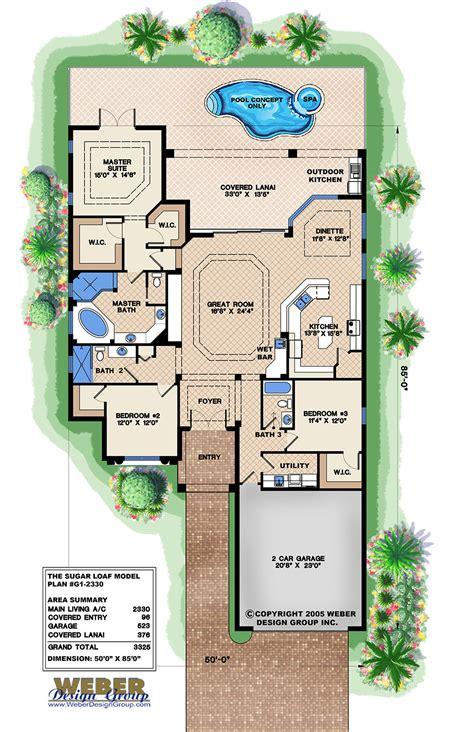 mediterranean house plan narrow lot golf  home floor plan
