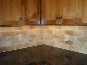 Backsplash tile subway travertine mom and tim39s new for Travertine backsplash tile ideas