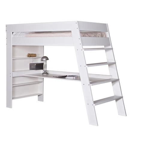 lit mezzanine blanc avec bureau bureau chambre fille