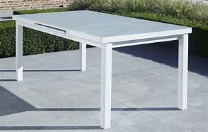 Table De Jardin Blanche : table de jardin blanche en aluminium et verre avec rallonge ~ Teatrodelosmanantiales.com Idées de Décoration