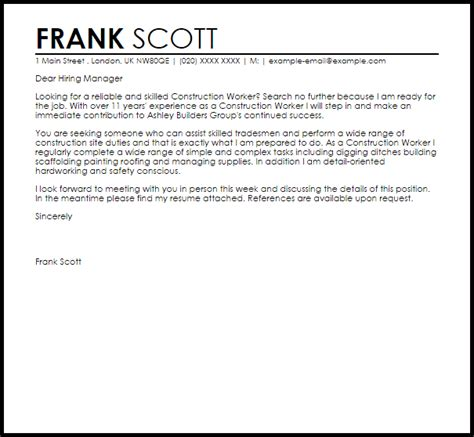 Letter Construction Worker by Construction Worker Cover Letter Sle Cover Letter