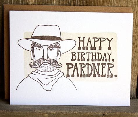 happy birthday pardner letterpress card   etsy