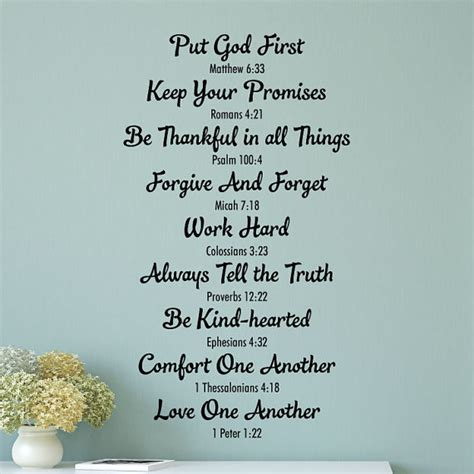 wall quote decal bible family rules religious house rules