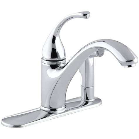 kohler single kitchen faucet kohler forte single handle standard kitchen faucet with side sprayer in polished chrome k 10413