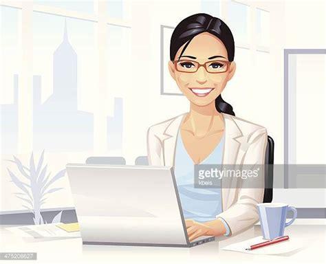 bureau avec ordinateur illustrations et dessins animés de secrétaire