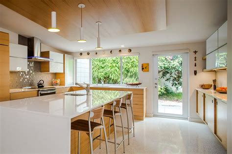 mid century modern kitchen island timeless kitchens kitchen midcentury with island seating 9166