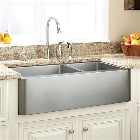 farmhouse bathroom sink 33 quot hazelton 60 40 offset bowl stainless steel Modern