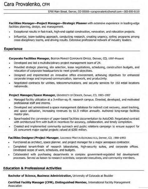 corporate facilities manager resume student resume
