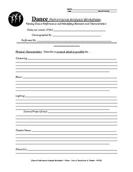 middle school dance worksheets written dance analysis worksheet english version tpt