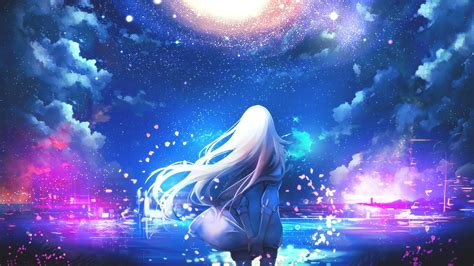 white haired girl anime  galaxy sky hd wallpaper