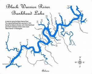 Black Warrior River Bankhead Lake Alabama Laser Engraved Map