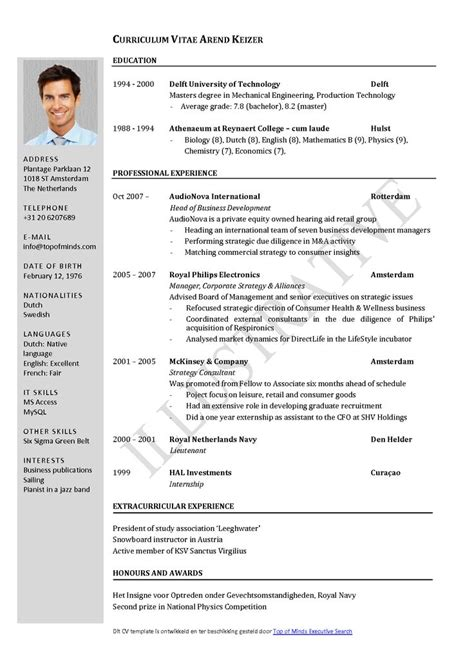 Exle Of Cv Resume For by Curriculum Vitae Resume Cv Exle Template