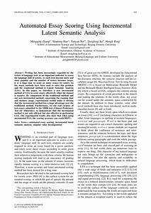 (PDF) Automated Essay Scoring Using Incremental Latent ...