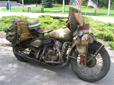 Vintage Military Motorcycle Free Stock Photo