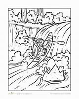 Kayaking Coloring Kayak Pages River Worksheet Riding Education Scene Nothing sketch template