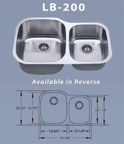 lb 200 bs esi stainless double 16 gauge undermount kitchen