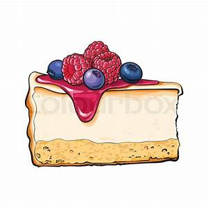 Hand drawn piece of cheesecake decorated with fresh ...