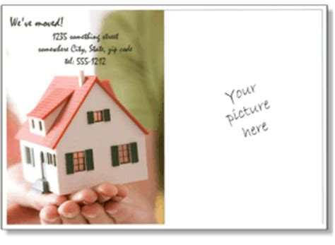 house template for photo card printable moving announcements add a photo change of