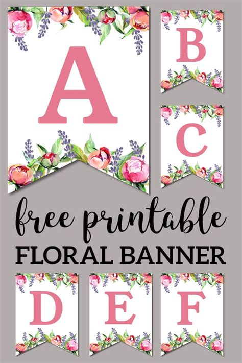 floral  printable alphabet letters banner