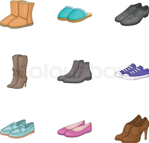 types  shoes icons set cartoon stock vector