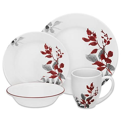 corelle vitrelle corelle boutique kyoto leaves 16 dinnerware set