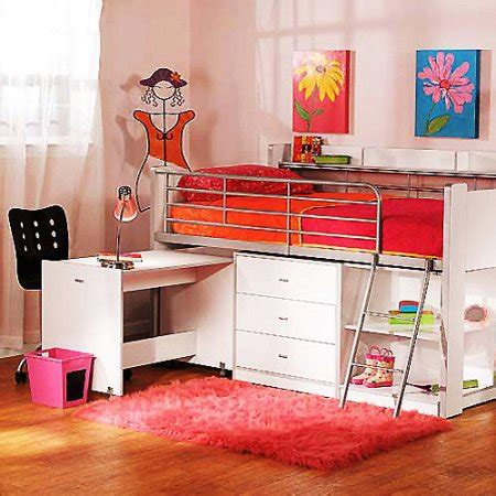 charleston storage loft bed with desk white walmart com