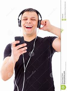 Man Laughing Watching And Listening Radio Show On Mobile ...