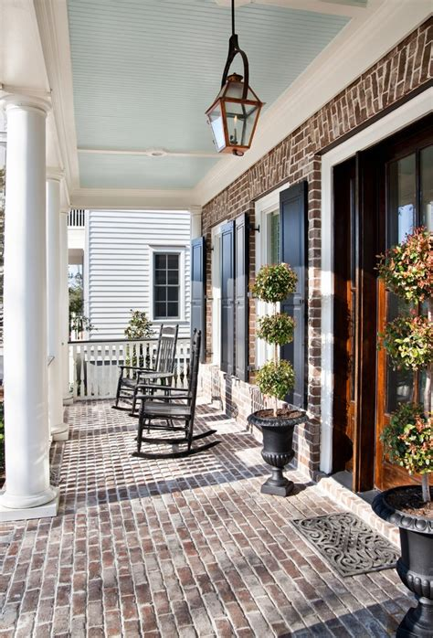 brick porch designs for houses incorporating exposed bricks in stylish designs around the house