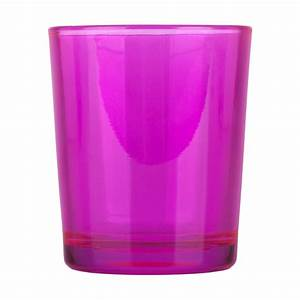 Hot Pink Glass Votive Candle Holder  Glass