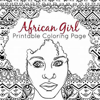 Coloring African Adult Printable Pages Portrait American