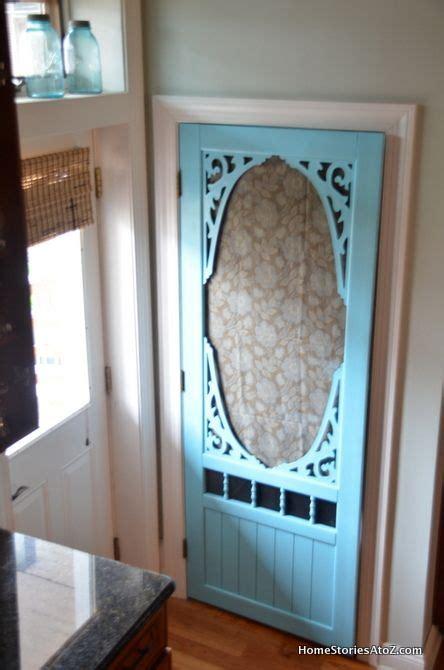 white painted kitchen island pantry screen door