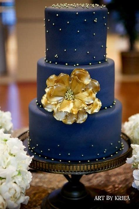 navy blue  gold wedding cake