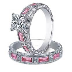 pink wedding ring set antique rings antique rings pink stones