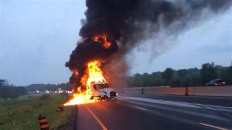 highway  eastbound lanes reopen  tractor trailer fire ctv ottawa news