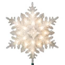 shop ge 11 in silver lighted plastic snowflake christmas tree topper with white incandescent