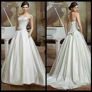 Simple Strapless Lace Wedding Dress 2016 Elegant Sash ...