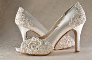 chagne colored wedding shoes wedding shoes custom 250 color choices pb525 vintage wedding lace peep toe 3 1 4 quot heels