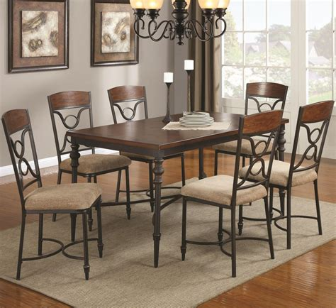 klaus cherry metal  wood dining table set steal