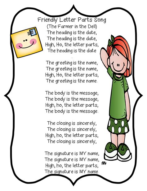 friendly letter parts song  grade wow literacy