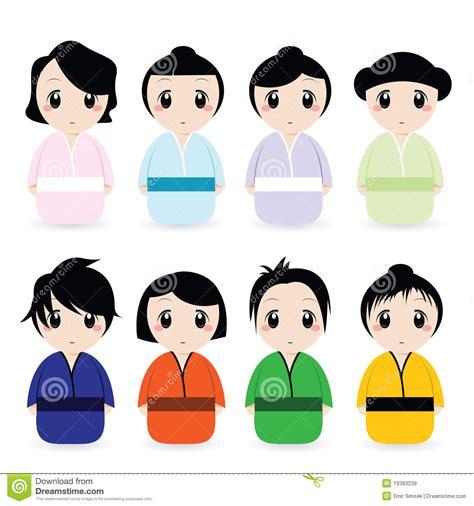 mulheres japonesas dos desenhos animados ajustadas imagens de stock royalty free imagem 19383239