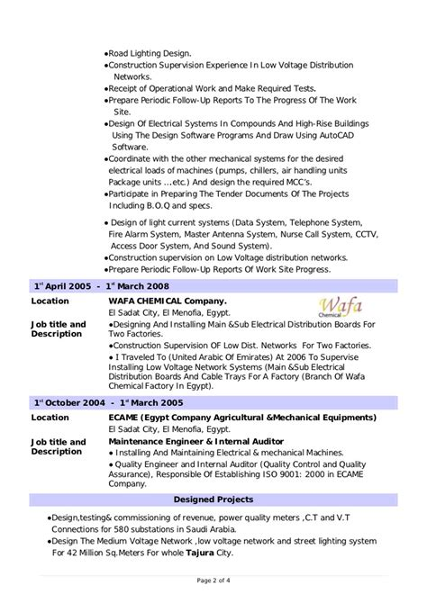 Best Resume Format For Experienced Electrical Engineers by Design Electrical Engineer Cv
