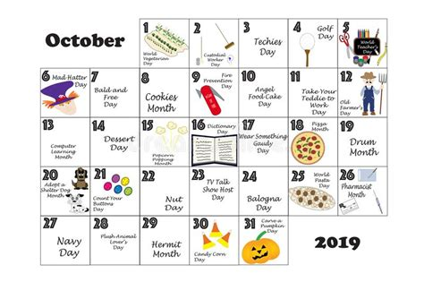 October 2019 Quirky Holidays And Unusual Events Stock ...