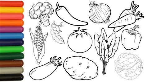Vegetables Coloring Pages For Kids Tomato Potato Corn
