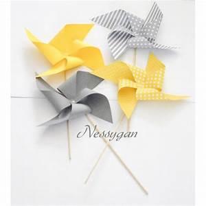 Moulin A Vent Deco Bapteme : moulin vent jaune ou gris d coration bapt me mariage nessygan ~ Melissatoandfro.com Idées de Décoration