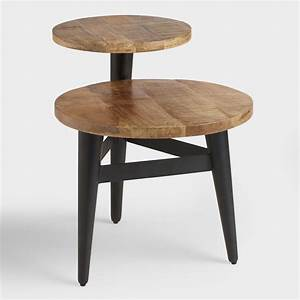 wood and metal multi level accent table world market With wood and metal multi level coffee table