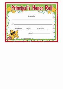 Principals Honor Roll Certificate Template Printable Pdf
