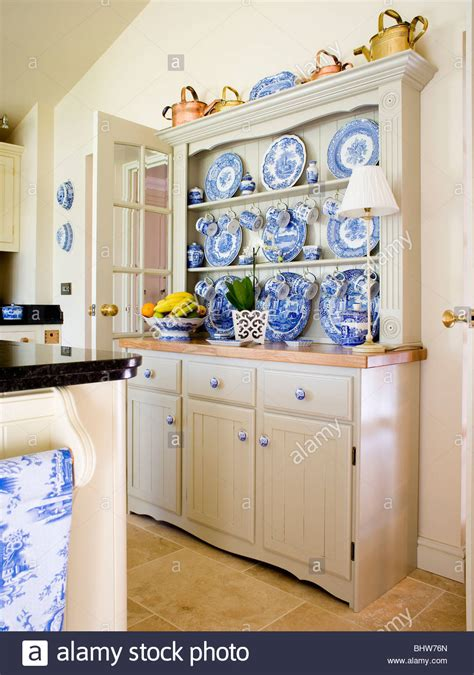 blue and white country kitchen collection of blue white china on fitted dresser in 7928