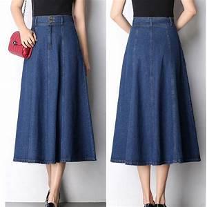 2017 autumn and winter new denim skirt large long paragraph a word long skirts high waist was ...