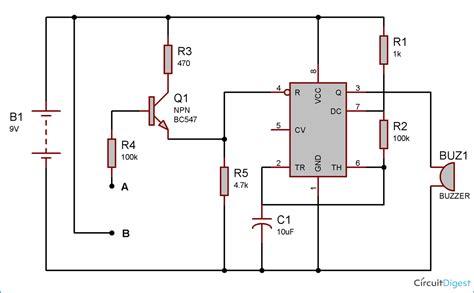 rain alarm project  circuit diagram   timer ic