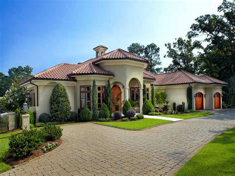Tuscan Mediterranean House Plans Two Story Waterfront Plan